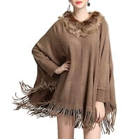 QZUnique Womens Collar Cape Shawl Tassel Fringe Pullover Batwing Cloak