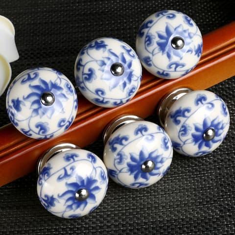 6 Pcs Ceramic Knobs Drawer Pulls Cupboard Handles Door Blue and White Flower - multi