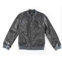 Alfani Black Mens Size Small S Perforated Motorcycle Leather Jacket