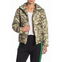 Know. One. Cares Green Womens Size Small S Camo Print Puffer Jacket