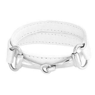 Bling Jewelry White Leather Horses Bit Equestrian Wrap Bracelet Steel