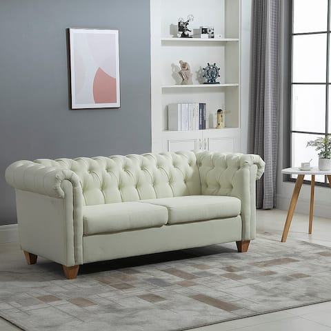 HOMCOM Retro 2-Seater Sofa Linen Fabric Couch with Rubberwood Legs, and Rolled Arms for Living Room, Cream White