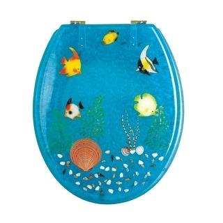 Polyresin Toilet Seat Ocean Floor Standard Round Brass | Renovator's Supply