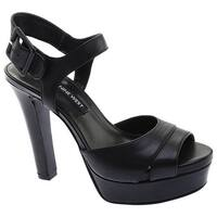 Nine West Women's Ibyn Platform Sandal Black Leather