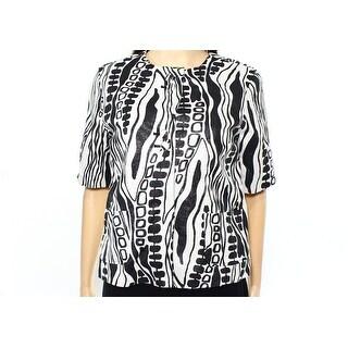 Kenar NEW Black White Womens Size 4 Abstract Print Metallic Jacket