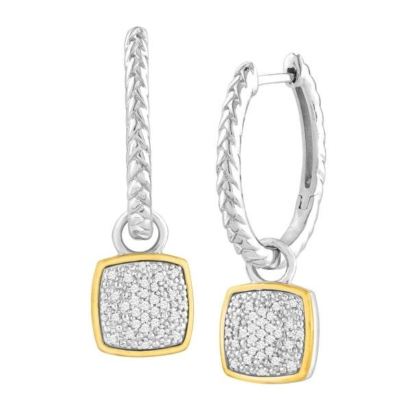 1/5 ct Diamond Drop Hoop Earrings in Sterling Silver & 14K Gold