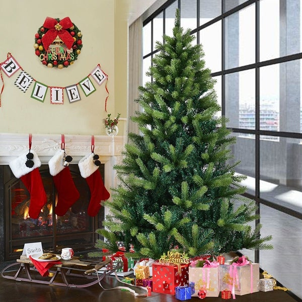 Costway 7 Ft Artificial Christmas Tree 1010 Tips With Solid Metal Legs Green Full Tree