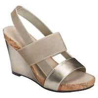Aerosoles Women's Magnolia Plush Slingback Sandal Silver Faux Leather/Elastic