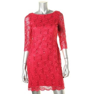 Calvin Klein Womens Petites Lace Sequined Cocktail Dress