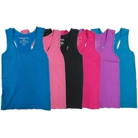 Girls 6 Pack Seamless Solid Color Tank Tops