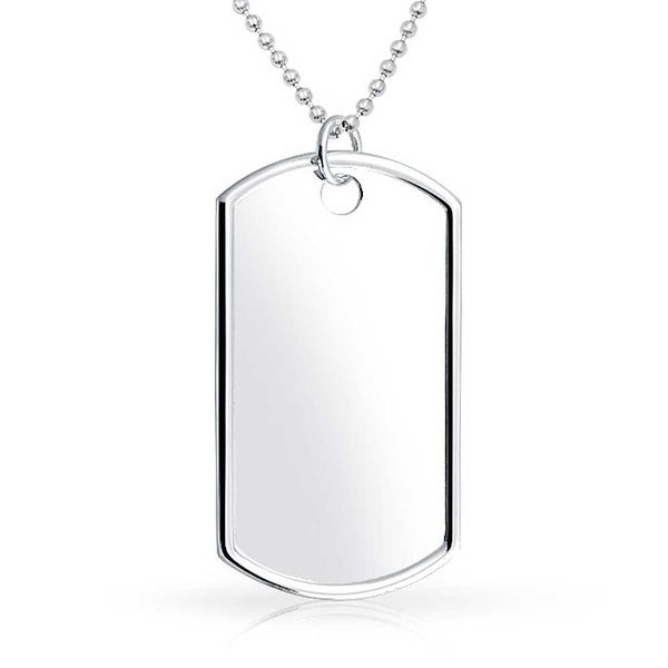 Shop Mens Large Army Dog Tag Pendant Necklace For Men Engravable High Polish 925 Sterling Silver Shot Bead Ball Chain 24 Inch - On Sale - Free Shipping ...
