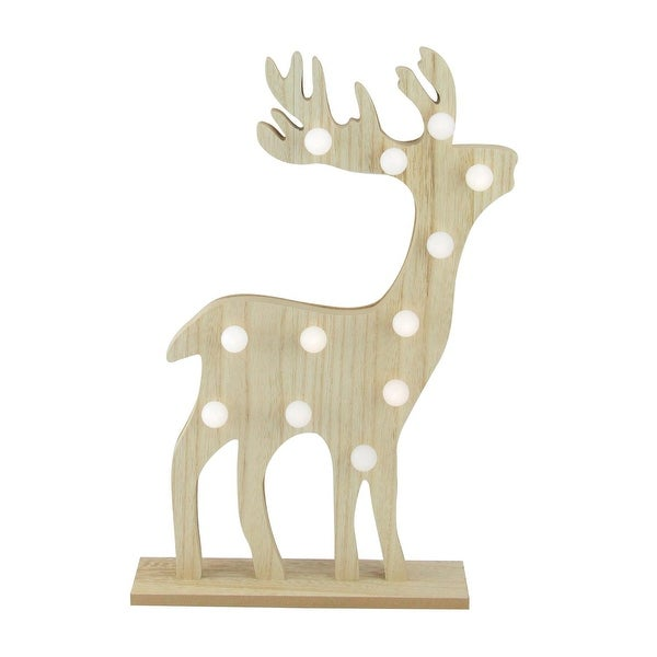 "15.75"" Battery Operated LED Lighted Wooden Reindeer Decorative Figurine"