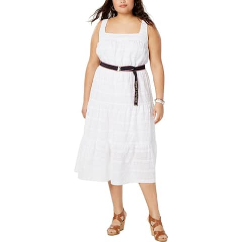 Tommy Hilfiger Womens Plus Maxi Dress Eyelet Embroidered - White