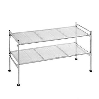Seville Classics 2-Tier Iron Mesh Utility Shoe Rack, Chrome