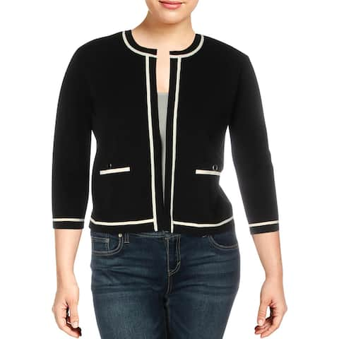 Anne Klein Womens Cardigan Sweater Cropped Open Front - Anne Black/Anne White - XL