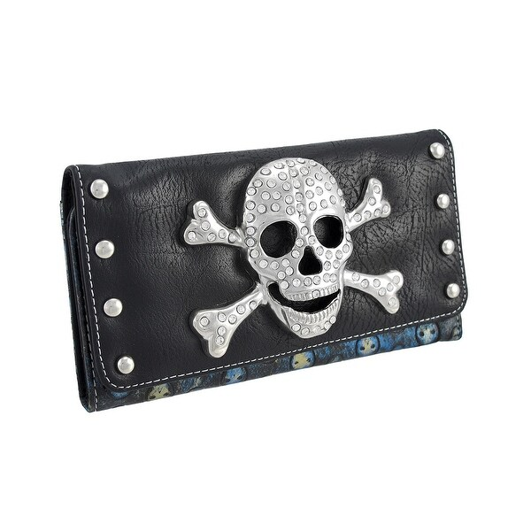 Rhinestone Skull and Crossbones Tooled Skull Wallet with Chrome Studs