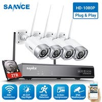 SANNCE 1080P 8CH WiFi Network Security System 4Pcs 2.0MP Weatherproof Camera With 2TB Hard Drive Disk