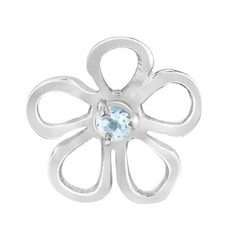 Handmade Whimsical Azalea Flower Outline Blue Cubic Zirconia Sterling Silver Pendant (Thailand) - Light Blue