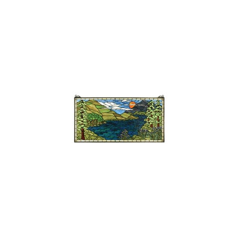 Meyda Tiffany 65497 Tiffany Rectangular Stained Glass Window from the Sunset Meadow Collection - copper foil - n/a