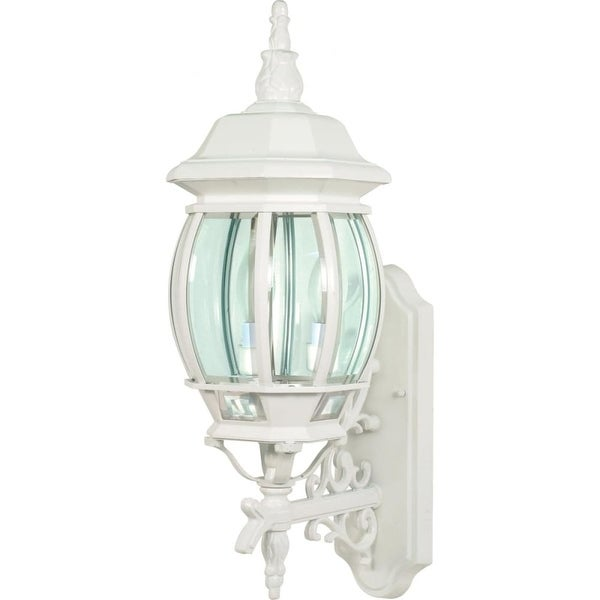 """Nuvo Lighting 60/888 Central Park 3-Light 22-3/4"""" Tall Outdoor Wall Sconce with Clear Glass Shade - White - n/a"""