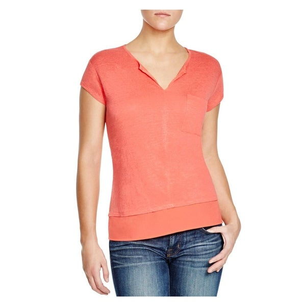 Sanctuary Womens Pullover Top Linen Short Sleeves