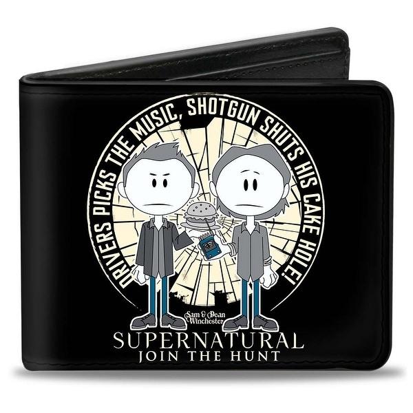 Supernatural Sam & Dean Caricatures Driver Picks The Music Shattered Glass Bi-Fold Wallet - One Size Fits most