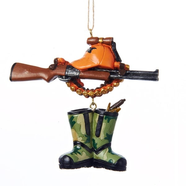 "3.75"" Rustic Lodge Style Rifle, Cap and Boots Hunting Christmas Ornament"