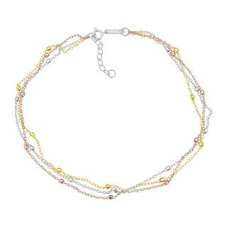 Just Gold Triple-Strand Beaded Anklet in 14K Three Tone Gold - three-tone|https://ak1.ostkcdn.com/images/products/is/images/direct/c6c173c92ab63ceb1d373db6831ee8c4228fc4b2/Just-Gold-Triple-Strand-Beaded-Anklet-in-14K-Three-Tone-Gold.jpg?impolicy=medium