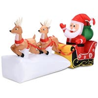 Costway 7' Christmas Decoration Inflatable Santa Claus on Sleigh 2 Reindeers Outdoor - as pic