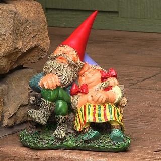 Sunnydaze Al and Anita on Bench Gnome - Small Lawn and Garden Decor - 8-Inch - Al & Anita 8 Inch