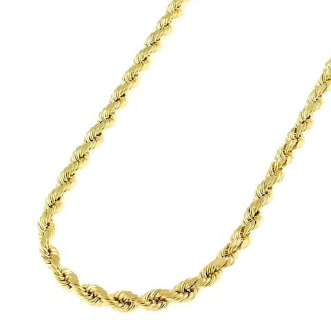 14K Yellow Gold 3MM Solid Rope Diamond-Cut Braided Twist Link Necklace Chains, Gold Chain for Men & Women, 100% Real 14K Gold