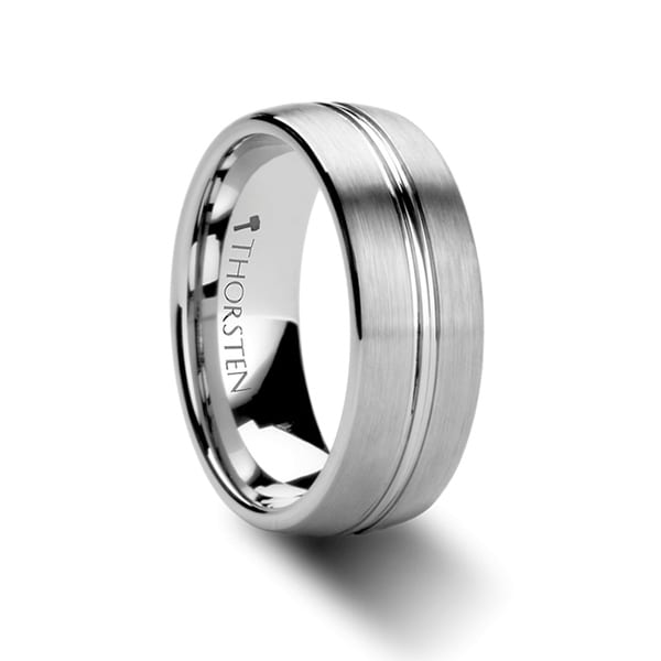 BOSS Domed Center Groove Tungsten Carbide Ring with Brush Finish