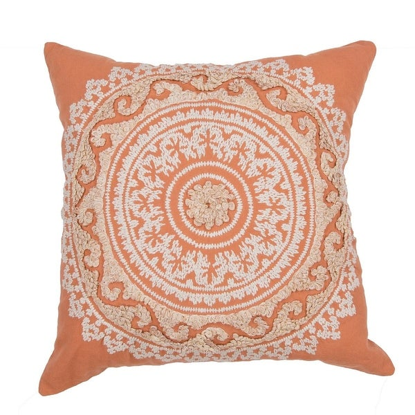 """22"""" Creamsicle Orange and Ivory Cotton Floral Pattern Indoor Decorative Throw Pillow"""