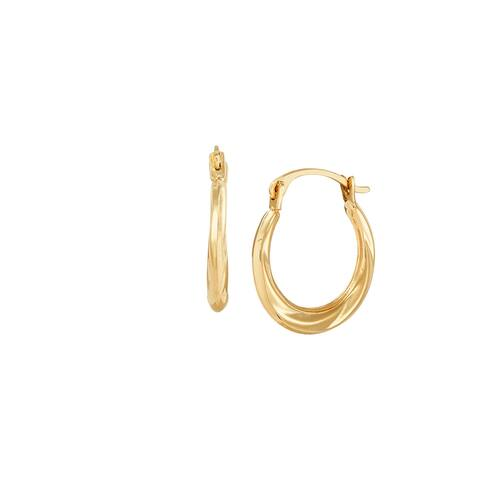 14K Gold Twisted and Etched Hoop Earrings - Yellow
