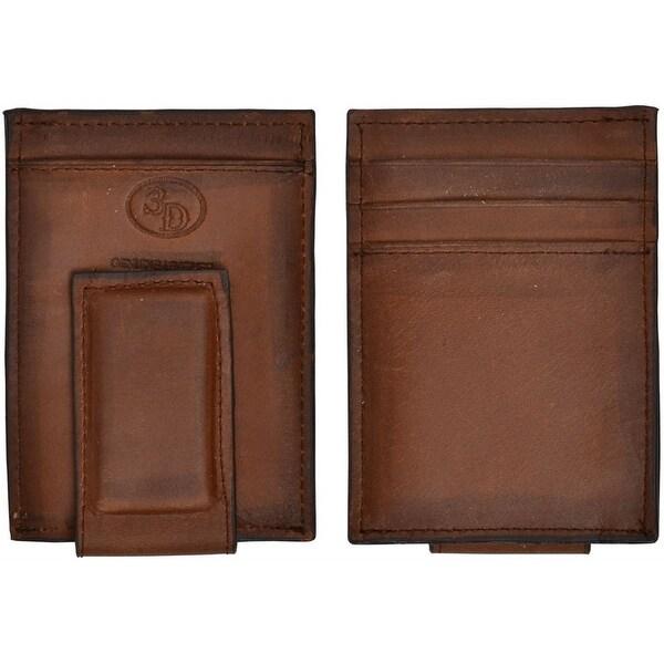 3D Wallet Men Leather Basic Money Clip Magnetic Brown - One size