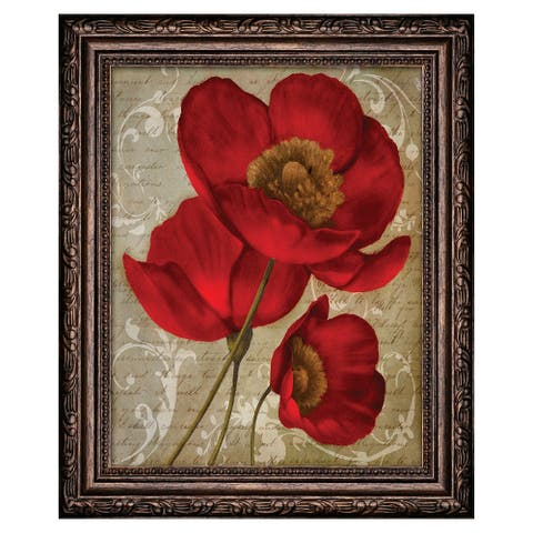 Premius Floral Small Traditional Framed Wall Art, Red, 9x11 Inches - 9x11 Inches