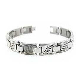 Men's Titanium Bracelet w/ Cubic Zirconia - 8.75 inches