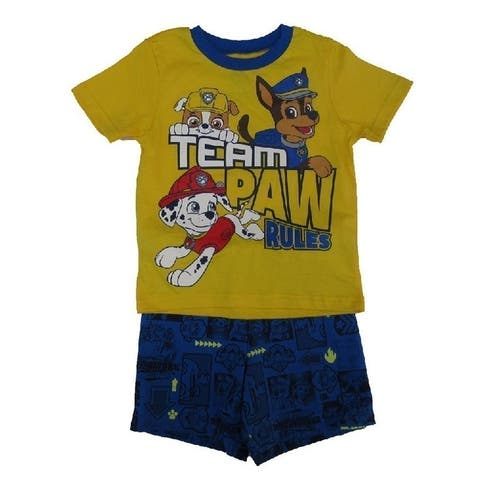 Nickelodeon Little Boys Yellow Blue Paw Patrol Short Sleeve 2 Pc Outfit