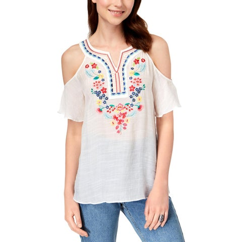 BCX Womens Juniors Tunic Top Sheer Embroidered - M