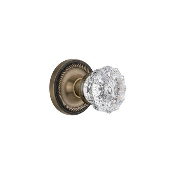 """Nostalgic Warehouse ROPCRY_PRV_238_NK Crystal Solid Brass Privacy Knob Set with Rope Rose and 2-3/8"""" Backset"""