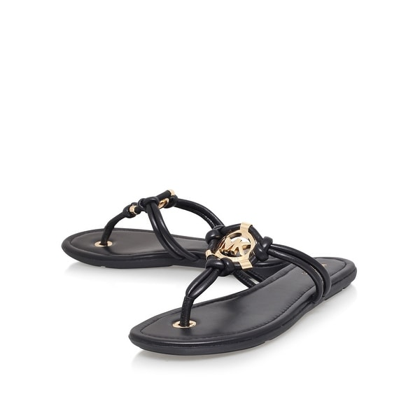 Michael Kors Womens kinley thong Leather Open Toe Casual T-Strap Sandals