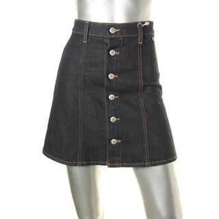 Adriano Goldschmied Womens Denim Dark Wash A-Line Skirt - 24