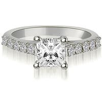 1.25 cttw. 14K White Gold Princess And Round Diamond Engagement Ring
