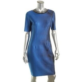 T Tahari Womens Printed Short Sleeves Wear to Work Dress - 14