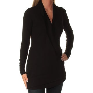Womens Black Long Sleeve V Neck Casual Sweater Size S