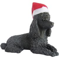Black Poodle With Santa Hat Christmas Ornament Sculpture