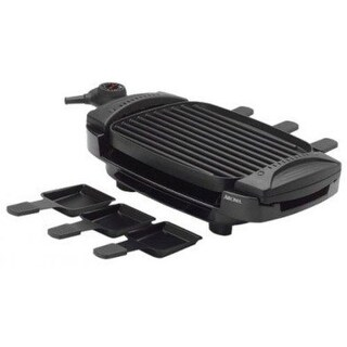 Aroma Housewares AHG-2233 Dual Flip 100-Sq-Inch Grill Griddle 6 Raclette Trays - charcoal