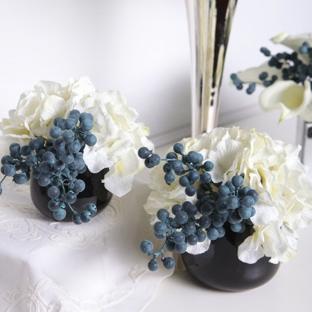 Shop G Home Collection Luxury White Hydrangea And Berry In Black