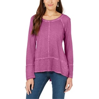 Link to Style & Co. Womens Seamed Basic T-Shirt, purple, Small Similar Items in Tops
