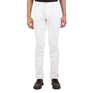 Yves Saint Laurent Men's Slim Fit Tightleg Cotton Denim Jeans Pants White